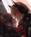 2girls absurdres armband bang5410 bangs blue_eyes blush commentary_request day eyebrows_visible_through_hair girls_frontline gloves hair_between_eyes hair_ornament half-closed_eyes headgear highres indoors jacket kiss korean_commentary long_hair looking_at_another m4_sopmod_ii_(girls_frontline) multicolored_hair multiple_girls one_side_up open_mouth pink_hair red_eyes red_hair saliva saliva_trail side_ponytail sidelocks st_ar-15_(girls_frontline) streaked_hair sweat upper_body wall_slam yuri