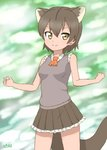 1girl absurdres ascot blurry blurry_background brown_hair commentary extra_ears fossa_(kemono_friends) fossa_ears fossa_tail frilled_skirt frills hair_between_eyes highres kemono_friends looking_at_viewer orange_neckwear pleated_skirt shiraha_maru short_hair skirt sleeveless smile solo yellow_eyes