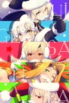 5girls altera_(fate) altera_the_santa artoria_pendragon_(all) bangs bell black_gloves black_headwear black_legwear black_santa_costume blonde_hair blush bow braid breasts capelet chin_piercing cis05 dark_skin earmuffs elbow_gloves fake_facial_hair fake_mustache fate/grand_order fate_(series) feathers florence_nightingale_(fate/grand_order) florence_nightingale_santa_(fate/grand_order) fur-trimmed_capelet fur_trim gloves green_bow green_eyes hair_between_eyes hair_intakes hat headband headdress headpiece holding holding_syringe jeanne_d'arc_(fate)_(all) jeanne_d'arc_alter_santa_lily long_hair looking_at_viewer mittens multiple_girls one_eye_closed open_mouth parted_bangs pink_hair quetzalcoatl_(fate/grand_order) quetzalcoatl_(samba_santa)_(fate) red_eyes red_headwear sack santa_alter santa_costume santa_hat short_hair sidelocks smile star striped striped_bow syringe veil white_capelet white_mittens yellow_eyes