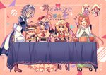 6+girls :d >_< ^_^ apron ascot bangs bat_wings black_dress black_footwear blonde_hair blue_bow blue_dress blue_eyes blue_hair blue_neckwear blue_ribbon blush boots bow bowl breasts brown_footwear cake capelet center_frills chair closed_eyes crescent crystal diagonal-striped_background diagonal_stripes double_v dress engrish eye_contact eyebrows_visible_through_hair fangs flandre_scarlet food frilled_apron frilled_shirt_collar frills from_side full_body green_dress green_hat hair_between_eyes hair_bow hand_up handkerchief hands_up hat hat_bow hat_ribbon high_heels holding hong_meiling hourglass izayoi_sakuya juliet_sleeves kirero koakuma loafers long_hair long_sleeves looking_at_another maid maid_apron maid_headdress medium_breasts mob_cap multiple_girls neck_ribbon one_side_up open_mouth orange_hair own_hands_together patchouli_knowledge petticoat pink_background pink_dress pink_hat pitcher plate pointy_ears profile puffy_sleeves purple_eyes purple_hair ranguage red_bow red_eyes red_footwear red_hair red_neckwear red_ribbon red_vest remilia_scarlet ribbon shirt shoes short_hair siblings sidelocks silver_hair sisters sitting smile standing striped striped_background table tablecloth teapot tiered_tray touhou translation_request triangle v very_long_hair vest white_apron white_hat white_shirt wings wrist_cuffs yellow_neckwear