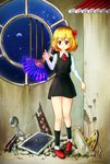 1girl blonde_hair broken fan folding_fan highres red_eyes round_window rumia shirt short_hair signature skirt touhou u-eruto vest window
