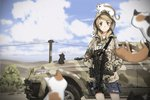 1girl :3 animal animal_on_head blonde_hair blurry_foreground camouflage car cat cat_on_head green_eyes ground_vehicle gun h&k_mp5 hands_in_pockets highres hood hood_up hoodie motor_vehicle on_head original outdoors shorts sky submachine_gun tantu_(tc1995) too_many too_many_cats twintails weapon
