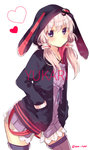 1girl animal_hood blue_hoodie blush bracelet bunny_hood character_name closed_mouth contrapposto cowboy_shot eyebrows_visible_through_hair hands_in_pockets heart hood hood_up hoodie ikeuchi_tanuma jewelry lavender_dress lavender_hair lavender_legwear long_hair long_sleeves looking_at_viewer low_twintails purple_eyes simple_background solo standing thighhighs twintails twitter_username voiceroid white_background yuzuki_yukari