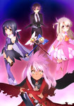 4girls absurdres bazett_fraga_mcremitz black_gloves black_hair black_jacket black_legwear black_pants blonde_hair boots chloe_von_einzbern detached_sleeves dual_wielding eyebrows_visible_through_hair fate/kaleid_liner_prisma_illya fate_(series) feathers formal gloves hair_feathers hair_ribbon highres holding holding_staff holding_sword holding_weapon holster illyasviel_von_einzbern jacket layered_skirt leotard long_hair looking_at_viewer magical_ruby magical_sapphire midriff miniskirt miyu_edelfelt multiple_girls neckerchief necktie open_clothes open_jacket pants pink_feather pink_footwear pink_hair prisma_illya purple_eyes purple_hair purple_legwear purple_leotard purple_neckwear red_eyes ribbon shirt short_hair skirt smile staff standing sword thigh_boots thigh_holster thighhighs weapon white_ribbon white_shirt white_skirt yellow_eyes yellow_neckwear
