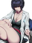 1girl absurdres black_hair breasts brown_eyes choker collarbone highres jewelry kumiko_shiba labcoat looking_at_viewer nail_polish necklace persona persona_5 short_hair sitting smile solo takemi_tae thighs