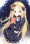 1girl :o abigail_williams_(fate/grand_order) bangs black_bow black_dress black_hat blonde_hair blue_eyes blush bow bug butterfly commentary_request dress fate/grand_order fate_(series) flower forehead frilled_sleeves frills glint hair_bow hat highres insect light_particles long_hair long_sleeves looking_at_viewer object_hug orange_bow parted_bangs parted_lips polka_dot polka_dot_bow sidelocks sleeves_past_fingers sleeves_past_wrists solo standing star stuffed_animal stuffed_toy teddy_bear tomoo_(tomo) very_long_hair