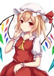 1girl bangs blonde_hair collared_shirt commentary_request crystal eyebrows_visible_through_hair flandre_scarlet frilled_shirt_collar frills hair_between_eyes hand_up hat hat_ribbon highres kashiwagi_yamine long_hair mob_cap one_side_up puffy_short_sleeves puffy_sleeves red_eyes red_ribbon red_skirt red_vest ribbon shirt short_sleeves simple_background skirt solo touhou vest white_background white_headwear white_shirt wings wrist_cuffs yellow_neckwear