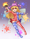 1girl american_flag_dress american_flag_legwear bad_id bad_pixiv_id bangs blonde_hair bushi_(1622035441) clownpiece eyebrows_visible_through_hair fire full_body gradient gradient_background hair_between_eyes hat highres holding jester_cap long_hair long_sleeves looking_away neck_ruff no_panties open_mouth pantyhose pantyhose_pull pointy_ears polka_dot polka_dot_hat print_legwear purple_background purple_hat red_eyes solo star star_print striped teeth torch touhou