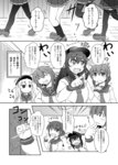 2_fuel_4_ammo_11_steel 4girls akatsuki_(kantai_collection) anchor_symbol capera comic crossover folded_ponytail greyscale hair_ornament hairclip hat hibiki_(kantai_collection) highres ikazuchi_(kantai_collection) inazuma_(kantai_collection) jitome kantai_collection long_sleeves monochrome multiple_girls pantyhose school_uniform serafuku thighhighs translated