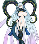 1girl absurdly_long_hair blue_hair blue_legwear blush braid breasts chain closed_mouth commentary_request curled_horns eyebrows_visible_through_hair fate/grand_order fate_(series) feet_out_of_frame gradient_hair hair_between_eyes hands_on_own_face heart heart-shaped_pupils highres horns large_breasts legs_together long_hair looking_at_viewer multicolored_hair navel nipples pink_hair simple_background smile solo srui standing symbol-shaped_pupils tail tattoo thighhighs tiamat_(fate/grand_order) very_long_hair white_background yandere_trance