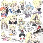 1boy 2girls baby black_pants black_vest blonde_hair blue_gloves blush braid brother_and_sister closed_eyes coat dress eating food from_side gladio_(pokemon) gloves green_eyes hair_over_one_eye hat highres lillie_(pokemon) long_hair long_sleeves lusamine_(pokemon) male_swimwear mittens mother_and_daughter mother_and_son multiple_girls nihilego one-piece_swimsuit open_mouth orange_hat pants plate pokemon pokemon_(anime) pokemon_(creature) pokemon_sm_(anime) shirt short_sleeves siblings silvally simple_background sleeping sleeveless sleeveless_dress sun_hat swim_trunks swimsuit swimwear tears twin_braids ukata ultra_beast vest wedding_dress white_background white_dress white_hat white_shirt white_swimsuit younger