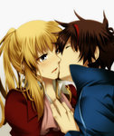 1boy androgynous bad_id bad_pixiv_id blonde_hair blush brown_hair cheek_kiss closed_eyes grey_eyes kiss long_hair ponytail sweatdrop tsubasa-00 umineko_no_naku_koro_ni undone_necktie ushiromiya_lion willard_h_wright