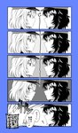 2girls 5koma ? andou_(girls_und_panzer) bangs bc_freedom_military_uniform blue_background closed_mouth comic commentary drill_hair eighth_note emphasis_lines eyebrows_visible_through_hair face-to-face from_side fuji_fujino girls_und_panzer greyscale hat highres jacket light_blush light_frown long_hair looking_back marie_(girls_und_panzer) medium_hair military military_hat military_uniform monochrome multiple_girls musical_note oshida_(girls_und_panzer) partially_colored shako_cap spoken_blush staring staring_contest sweatdrop translated uniform
