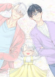 1girl 2boys ^_^ black_hair blue-framed_eyewear boy_sandwich braid cardigan closed_eyes cover cover_page doujin_cover dress family glasses hair_ribbon heart-shaped_mouth if_they_mated katsuki_yuuri lying multiple_boys on_back open_mouth ribbon sandwiched silver_hair smile tamika viktor_nikiforov yaoi yuri!!!_on_ice
