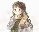 1girl bangs black_eyes black_hair breath finger_licking food food_on_face green_scarf grey_sweater holding holding_food kana_(okitasougo222) licking long_hair long_sleeves looking_at_viewer original scarf sketch solo steam sweater sweet_potato upper_body winter winter_clothes yakiimo