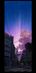 absurdres accident bad_id bad_pixiv_id building cloud highres kurono_kuro multicolored multicolored_sky no_humans original power_lines scenery sky traffic_light