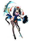 1girl :o absurdres ankle_ribbon bad_id bad_pixiv_id bare_shoulders black_legwear blue_dress blue_eyes blue_hair breasts china_dress chinese_clothes cleavage cleavage_cutout covered_navel cross-laced_footwear destiny_child dragon_tail dress eyeliner fan fingernails flower full_body hair_flower hair_ornament hair_ribbon hair_stick highres horns large_breasts loncspace long_fingernails long_hair makeup nail_polish no_panties pelvic_curtain polearm ribbon scythe side_slit simple_background sleeveless sleeveless_dress solo tail thighhighs twintails v-shaped_eyebrows weapon white_background