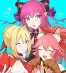 3girls animal_ears blonde_hair blue_eyes blush caster_(fate/extra) citron_82 closed_eyes fate/extra fate/extra_ccc fate/grand_order fate_(series) green_eyes horn lancer_(fate/extra_ccc) long_hair maid multiple_girls one_eye_closed open_mouth pink_hair ponytail purple_eyes saber_extra smile tamamo_cat_(fate/grand_order)