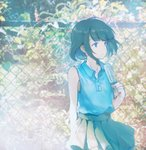 1girl bare_arms bare_shoulders blue_eyes blue_shirt blue_skirt closed_mouth collared_shirt commentary_request day fence food green_hair highres ivy outdoors pleated_skirt popsicle shirt short_hair sibyl skirt sleeveless sleeveless_shirt solo standing wing_collar