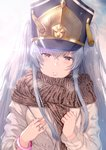 1girl absurdres altair_(re:creators) backlighting bangle bangs black_hat blush bracelet breath brown_eyes brown_scarf casual coat commentary eyebrows_visible_through_hair glint grey_coat hair_between_eyes hands_on_own_chest hat head_tilt hews_hack highres huge_filesize jewelry lips long_hair long_sleeves looking_at_viewer parted_lips re:creators ring shiny shiny_hair sidelocks silver_hair solo tassel tsurime twintails upper_body winter_clothes winter_coat