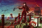 1girl akatsuhara_empire archery architecture arrow battle bow_(weapon) disembodied_limb dragon east_asian_architecture katana magic magic_circle military military_uniform nail_polish ocean ootachi oropi pagoda pixiv_fantasia pixiv_fantasia_3 red_nails sheath sheathed sky solo sword torii tower uniform war weapon