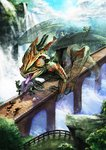 1boy 2girls bad_id bad_pixiv_id bridge chameleon chimera commentary_request day dragon fantasy fleeing from_above giant holding horns invisible looking_at_another monster multiple_girls original outdoors river running scenery size_difference snake solo tongue tongue_out water waterfall wings zeroshiki_kouichi