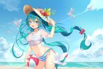 1girl aqua_eyes aqua_hair ball beach beachball bikini bird bracelet cloud cowboy_shot eyebrows_visible_through_hair floating_hair hair_between_eyes hat hatsune_miku highres jewelry leaning_forward long_hair looking_at_viewer navel open_mouth outdoors see-through shirt side-tie_bikini sky solo striped striped_bikini sun_hat swimsuit twintails very_long_hair vocaloid wet wet_clothes wet_shirt yuna_(deadawon)