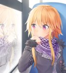 1girl bangs blonde_hair blush checkered_scarf chin_rest closed_mouth coat idolmaster idolmaster_cinderella_girls long_sleeves looking_afar looking_away misha_(hoongju) ninomiya_asuka purple_eyes reflection scarf short_hair_with_long_locks sidelocks solo upper_body window winter_clothes winter_coat