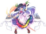 1girl blue_hair food fruit full_body hat highres hinanawi_tenshi long_hair ms06s peach red_eyes solo sword sword_of_hisou touhou transparent_background weapon