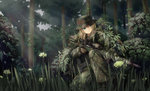 1girl blonde_hair boonie_hat bush flower forest germany ghillie_suit grass green_eyes gun hat highres leaf long_hair military military_uniform nature original rifle scope sniper_rifle soldier solo submachine_gun sunlight tc1995 tree uniform weapon