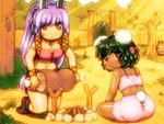 2girls :< ahoge animal_ears armlet ass bandeau bangs black_footwear black_hair boned_meat boots breasts bunny_ears bunny_tail carrot_hair_ornament commentary_request dark_skin eyebrows_visible_through_hair facial_mark fence food food_themed_hair_ornament from_behind grass hair_ornament holding_foot inaba_tewi jewelry kneeling large_breasts long_hair looking_at_viewer looking_back meat midriff multiple_girls navel necklace outdoors parted_lips pink_skirt purple_hair red_eyes reisen_udongein_inaba shiny shiny_skin shirosato short_hair sidelocks skirt spaghetti_strap stomach tail thighs touhou tree very_long_hair