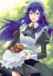 1girl a_meno0 alternate_costume apple apron blue_eyes blue_hair collared_shirt commentary_request fire_emblem fire_emblem_awakening food fruit hair_between_eyes long_hair lucina maid maid_apron maid_dress maid_headdress open_mouth shirt super_smash_bros. tree