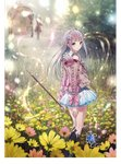 2girls atelier_(series) atelier_lulua bangs bare_shoulders blunt_bangs boots elmerulia_fryxell field flower flower_field green_eyes grey_hair hairband highres jacket key_visual kishida_mel long_hair long_sleeves looking_at_viewer looking_back miniskirt multiple_girls official_art rororina_fryxell skirt staff wagon white_skirt
