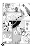 3girls alice_margatroid aozora_market bow comic crescent doujinshi dress greyscale hairband hat hat_bow highres kirisame_marisa long_hair monochrome multiple_girls patchouli_knowledge ribbon scan short_hair table tears touhou translated witch_hat