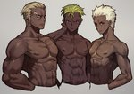 3boys abs archer blonde_hair closed_mouth cropped_torso crossover dark_skin dark_skinned_male earlobes earrings eyebrows fate/stay_night fate_(series) gamagoori_ira green_hair grey_background hair_slicked_back hands_in_pockets highres jewelry kill_la_kill king_of_prism_by_prettyrhythm leeis_cool looking_at_viewer male_focus multiple_boys multiple_crossover muscle nipples pretty_rhythm purple_eyes shirtless simple_background toned toned_male trait_connection undercut white_hair yamato_alexander