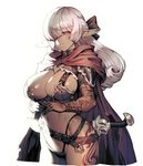1girl belt blush breasts brown_gloves cape cleavage cozy curly_hair dark_elf dark_skin elbow_gloves elf eyebrows_visible_through_hair gloves groin hair_over_eyes hair_ribbon highres large_breasts long_hair navel original parted_lips pauldrons pointy_ears red_eyes revealing_clothes ribbon sheath sheathed silver_hair simple_background sword tattoo thong weapon white_background