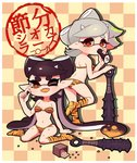 +_+ 2girls ;d animal_print aori_(splatoon) ass bare_arms bare_shoulders black_hair border breasts checkered checkered_background cleavage club collarbone coula_cat cousins domino_mask ehoumaki fang fangs food green_eyes hair_rings hand_up highres horns hotaru_(splatoon) kanabou leg_up long_hair makizushi mamemaki mask medium_breasts mole mole_under_eye multicolored_hair multiple_girls one_eye_closed oni_horns open_mouth orange_eyes orange_hair pointy_ears setsubun short_hair silhouette silver_hair sitting smile spiked_club splatoon_(series) splatoon_1 standing standing_on_one_leg sushi symbol-shaped_pupils teeth tentacle_hair tiger_print two-tone_hair very_long_hair weapon white_border