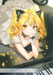 1girl absurdres animal_ears anmi black_bow black_choker blonde_hair bow cat_ears cat_tail character_name chin_rest choker closed_mouth dress gloves hand_up highres hikaru_(houkago_no_pleiades) houkago_no_pleiades instrument kemonomimi_mode looking_at_viewer lying on_stomach piano short_sleeves solo tail thick_eyebrows twintails white_dress white_gloves yellow_eyes