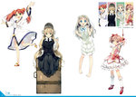 2011 4girls absurdres ano_hi_mita_hana_no_namae_wo_bokutachi_wa_mada_shiranai. bare_legs barefoot black_dress blonde_hair blue_eyes bonnet bow_(weapon) column_lineup crossover dated dress fractale full_body gosick highres honma_meiko kaname_madoka kantoku kneehighs lolita_fashion long_hair mahou_shoujo_madoka_magica multiple_girls nessa outstretched_arms pipe red_hair sandals scan season_connection sitting twintails very_long_hair victorica_de_blois weapon white_background white_dress white_hair white_legwear year_connection