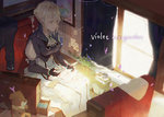 1girl ascot bangs blonde_hair blurry blurry_foreground braid breasts character_name commentary copyright_name curtains depth_of_field green_eyes hair_bun hair_ribbon holding kuroduki_(pieat) large_breasts letter plant potted_plant reading red_ribbon ribbon sitting skirt solo violet_evergarden violet_evergarden_(character) white_legwear white_skirt window