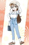 1girl :d alternate_costume bag bespectacled blue_pants breasts brown_eyes brown_footwear brown_hair brown_headwear copyright_name full_body glasses hair_down handbag hat highres holding holding_bag large_breasts long_hair looking_at_viewer open_mouth pants pink_x shirt shoes short_sleeves smile solo suspenders taneshima_popura very_long_hair white_shirt working!!