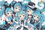 5girls ace_of_spades aqua_eyes aqua_hair arami_o_8 bare_shoulders black_bow bow bowtie card commentary detached_sleeves double-breasted english_commentary gloves hair_bow hair_ornament hat hatsune_miku headphones headset holding_hands long_hair looking_at_viewer magical_mirai_(vocaloid) multiple_girls multiple_persona necktie reaching_out shirt skirt sleeveless sleeveless_shirt smile sparkle symbol_commentary top_hat twintails very_long_hair vocaloid