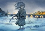 1girl architecture barefoot bridge commentary east_asian_architecture footprints highres medium_hair messy_hair original scenery sky-art snow solo torn_clothes traditional_media white_hair yellow_eyes