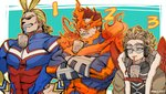 3boys abs all_might beard blonde_hair boku_no_hero_academia brown_eyes bubble_tea bubble_tea_challenge bursting_pecs cheating_(competitive) chest coat commentary crossed_arms cup drink drinking_straw facial_hair feathered_wings feathers fire fur_collar goggles goggles_on_eyes hand_on_hip hawks_(boku_no_hero_academia) headphones kadeart long_sleeves looking_away male_focus multicolored_hair multiple_boys muscle mustache pectorals red_hair red_wings simple_background skin_tight smile spiked_hair teeth todoroki_enji two-tone_hair wings winter_clothes winter_coat