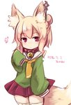 1girl animal_ear_fluff animal_ears bangs bell bell_collar blonde_hair blush borrowed_character closed_mouth collar commentary_request cowboy_shot eyebrows_visible_through_hair fox_ears fox_girl fox_tail green_shirt hair_between_eyes hair_bun hair_ornament hand_up jingle_bell kemomimi-chan_(naga_u) long_hair long_sleeves looking_at_viewer orange_neckwear original pleated_skirt purple_eyes purple_skirt red_collar sailor_collar school_uniform serafuku shirt sidelocks simple_background skirt sleeves_past_fingers sleeves_past_wrists solo tail translated trutsmn white_background white_sailor_collar