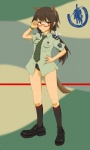 1girl animal_ears bad_id bad_pixiv_id blush commentary dakku_(ogitsune) glasses long_hair necktie original ponytail solo strike_witches_1991 tail tie_clip uniform world_witches_series