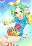 1girl :d >:d aqua_hair badge bandaid bandaid_on_leg clothes_writing commentary_request drawstring fang gradient_hair green_eyes green_hair hair_flaps hair_ribbon highres hood hood_down hoodie long_sleeves looking_at_viewer miniskirt multicolored multicolored_clothes multicolored_hair multicolored_legwear multicolored_stripes niiya nijiiro_nino open_mouth pleated_skirt pripara ribbon short_hair skirt smile socks solo sparkle star striped striped_legwear v