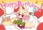1girl :o animal_ear_fluff animal_ears bangs bell bell_collar birthday_cake blonde_hair blush cake candle collar commentary_request cream cream_on_face eyebrows_visible_through_hair fire food food_on_face fox_ears fox_girl fox_tail fruit green_shirt hair_between_eyes hair_bun hair_ornament happy_birthday highres holding holding_food in_food jingle_bell kemomimi-chan_(naga_u) long_hair long_sleeves looking_at_viewer looking_to_the_side minigirl naga_u original parted_lips pleated_skirt purple_skirt ribbon-trimmed_legwear ribbon_trim sailor_collar school_uniform serafuku shirt sidelocks sitting skirt sleeves_past_fingers sleeves_past_wrists solo strawberry tail wariza white_legwear white_sailor_collar