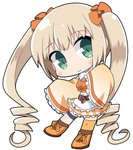 1girl apron bangs blonde_hair bow breasts brown_legwear chibi commentary_request copyright_request detached_sleeves eyebrows_visible_through_hair frilled_apron frilled_sleeves frills full_body fur_collar green_eyes hair_between_eyes hair_bow head_tilt long_sleeves midriff navel orange_bow orange_footwear orange_shirt orange_skirt osaragi_mitama plaid plaid_skirt ringlets shirt shoes sidelocks skirt sleeveless sleeveless_shirt sleeves_past_fingers sleeves_past_wrists small_breasts socks solo twintails waist_apron white_apron wide_sleeves