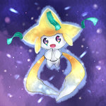 aura hands_together highres jirachi no_humans open_mouth pokemon pokemon_(creature) solo tesshii_(riza4828)